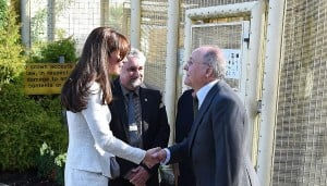 Kate, the Duchess of Cambridge, visits a women-only prison which houses a 12-step recovery programme run by the Rehabilitation for Addicted Prisoners trust, whose chairman David Bernstein greets her.